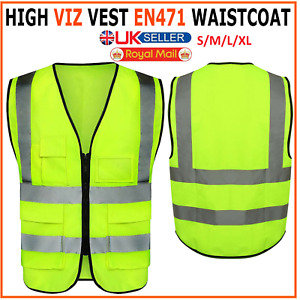 Yellow Hi Vis High Viz Visibility Vest Waistcoat Safety with Phone, ID Pockets