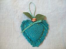 Vintage Pillow Pin Cushion Crocheted Heart Over Satin with Ribbon  and Flower