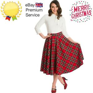 Banned Retro 50s Red Scot Tartan Check Rockabilly Pin Up Party Semi Swing Skirt
