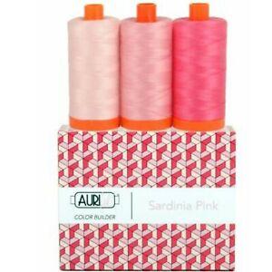 Aurifil Thread 50 wt Cotton 3 spools Color Builder Sardinia Pink AC50CP3-001