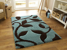 EXTRA LARGE THICK DEEP SHAGGY SOFT DUCK EGG BLUE CHOCOLATE BROWN RUG 160x220cm