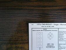 1976 Chevrolet Vega & Monza 2+2 140 CI L4 2BBL SUN Tune Up Chart Great Shape!