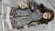 1990's~15� Tall Cute Porcelain Doll With Teddy Bear