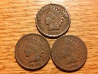 3 INDIAN HEAD PENNY CENT ANTIQUE RARE USA COIN 1899,1901,1904 NO RESERVE #16A