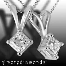 9.94 ct natural square princess cut diamond solitaire pendant 14k white gold