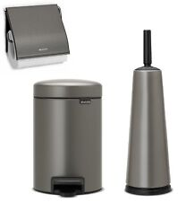 Brabantia Toilet Bathroom Set Classic Platinum Brush Paper Holder Rubbish Bin