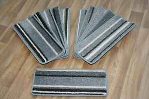 11 Striped Open Plan Carpet Stair Treads Funky Silver 037 11 Large Pads!