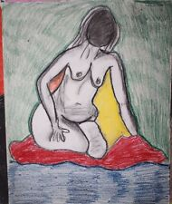 1960's Summer of Love Psychedelic abstract nude female kneeling on a blanket