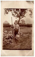 Postcard Early Boy Cub Scout Scouting In Field Social History RPPC 9