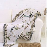 Unique Birds Design Floral Fringed Blanket Tapestry Throw Sofa Cover Chair Cover