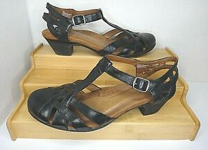ROCKPORT Cobb Hill Aubrey, T-Strap Leather Sandals, Black, Women's US 7 M