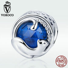 Voroco 925 Sterling Silver Charm Bead Happy Kitty Cat with Blue CZ Fit Bracelet
