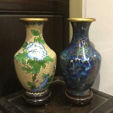 New listing Lot Of 2 Antique Chinese Cloisonne Butterflies Flowers Vases With Stands