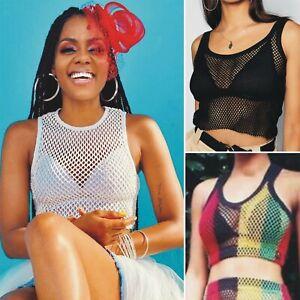Ladies crochet Mesh Crop Top Tank Sleeveless Net T Shirt Blouse Fishnet Sheer