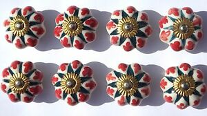 Ceramic Knobs Glass Pulls Handles for door drawer Cabinets Cupboard Wardrobe x 8