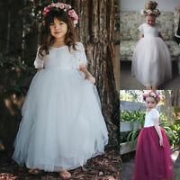 Princess Girl Dresses Bridesmaid Flower Party Formal Full Dress Occasion Wedding