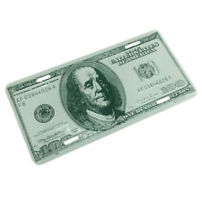 $100 Dollar Bill Metal License Plate Embossed Stamped Premium Tag made in USA
