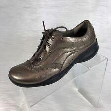 clarks in motion women's oxfords pewter leather sneaker rocker shoes size 7.5 M