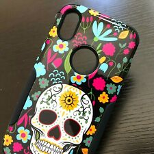For iPhone X / XS - Hybrid Hard High Impact Armor Case Cover Candy Skull Flowers