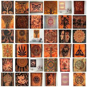 Orange Wall Hanging Tapestry Mandala COTTON Boho Hippie Wall Art indian Poster