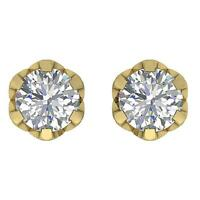 SI1 G Round Diamond 0.65 Carat Solitaire Studs Earrings 14K Solid Gold Appraisal