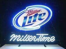 "New Miller Lite Miller Time Neon Light Sign 17""x14"" Beer Cave Gift Real Glass"