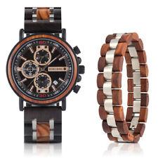BOBO BIRD Wooden Men Watches Timepieces Chronograph Quartz Watches Bracelet Set