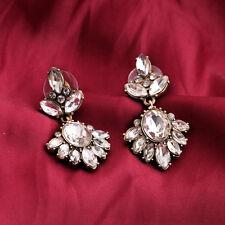 Boucles d`Oreilles Pendant Clous Fleur Crystal Brillant Vintage Retro BB 2