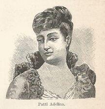 A7495 Adelina Patti - Stampa Antica del 1929 - Xilografia