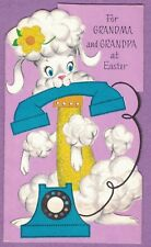 VINTAGE EASTER CARD POODLE HOLDS BLUE PHONE YELLOW OUTFIT DECORATED W/ GLITTER