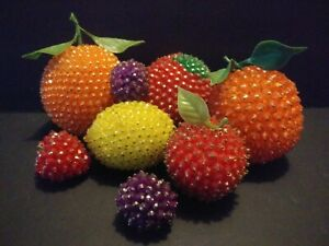 Vintage Sequin Beaded Faux Fruit Retro Lot Groovy Kitsch Colorful