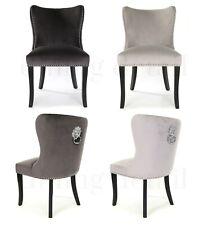 Amalfi Dining Chair Dark Light Grey Velvet Lion Knocker Dining Detail Wing Back