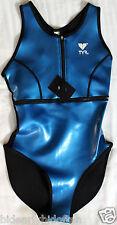 New TYR women's neoprene Vanguard BLUE Front Zip WATER POLO Suit size 34 rubber