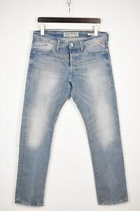 REPLAY WAITOM M983 Men's W33/L32 Regular Light Blue Fade Effect Jeans 37168_GS