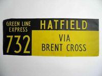 Vintage bus destination blind Hatfield Brent Cross screen printed linen 1978