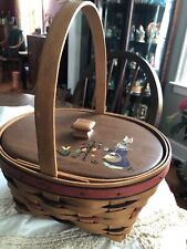 1995 Easter Basket With Liner, Protector & Custom Wood Lid Euc