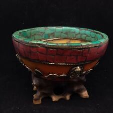 Chinese Antique Tibetan style beeswax inlaid turquoise bowl