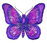 Colourful Metal and Glass Wall Art 35 cm Purple Butterfly -Garden Home Plaque