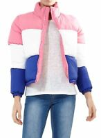 New Womens Contrast Zip Colour Block Panel Cropped Puffer Jacket 18-24