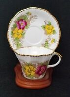 Royal Salisbury Bone China Pansy Tea Cup and Saucer Set Purple & Yellow Pansies