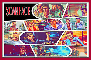 Scarface Comic Strip Art Print (Available In 4 Formats)