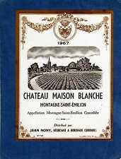 MONTAGNE ST EMILION VIEILLE ETIQUETTE CHATEAU MAISON BLANCHE 1967 73CL§14/02/17§