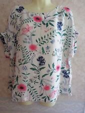 MARKS AND SPENCER WHITE FLORAL VISCOSE TOP SIZE 14