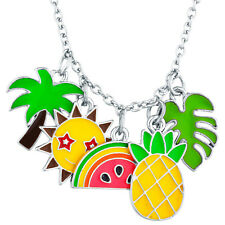 Lux Accessories Silver Tone Enamel Tropical Fruit Novelty Cluster Charm Necklace
