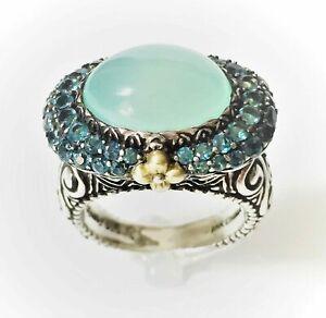 Barbara Bixby Chalcedony London Blue Topaz Sterling & 18K Ring - Size 6
