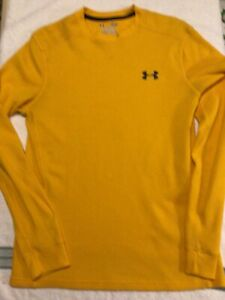 Men's Yellow Under Armour Shirt Thermal Waffle Knit Top Size Small Nice!