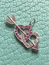 Tiffany & Co Platinum Diamond Sapphire Hearts Arrows pendant Bracelet Charm NEW