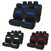 9Pcs Black+Blue Car Auto Seat Cover Set Protector Polyester Interior Accessories