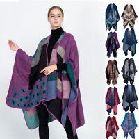 Womens Ladies Knitted Poncho Cape Blanket Winter Tassels KIMONO Wrap Shawl Coats