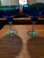 Blue Green Mexican Bubble Goblets, Margarita X 2, Wine/Water X 1